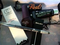 """Glossybox August 2015.  $21.00   A monthly subscription beauty box. This is my first Glossybox, and I'm mostly pleased.  * Glamglow YouthCleanse Daily Exfoliating Cleanser  * Spa Ritual Nail Lacquer in the color """" Fall in Love""""  *Pop Beauty Kajal Pen in Sooty black  *"""