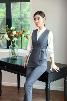 2019 winter formal elegant women's fashion two piece women vests trouser grey ladies pant and top sets office uniform styles. Yesterday's price us. Vest Outfits For Women, Suits For Women, Clothes For Women, Elegant Style Women, Elegant Woman, Moda Pop, Formal Wear Women, Formal Tops For Women, Look Fashion