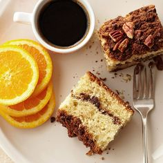 Sour Cream-Orange Coffee Cake with Chocolate Streusel From Better Homes and Gardens, ideas and improvement projects for your home and garden plus recipes and entertaining ideas. Chocolate Streusel Recipe, Best Coffee Cake Recipe, Chocolate Cake With Coffee, Sweet Coffee, Streusel Topping, Pastry Blender, Vegetarian Chocolate, Cake Recipes, Yummy Recipes