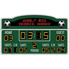 Custom Scoreboard Mural from http://sportsdecorating.com.  Size: 60 inches by 36 inches  This digital style scoreboard is the perfect accent for your soccer player. Peel and stick. Put it in the garage, media room, game room, or bedroom and have your very own field of dreams. Links allow you to choose custom colors and player stats.  Ships in approximately 2 weeks.  $139.95