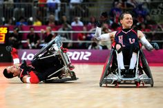 Knocking the other team around is expected in wheelchair rugby --- 2012 London Paralympics