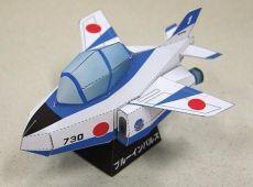 PAPERMAU: Kawasaki T-4 Blue Impulse Aircraft Paper Model In SD Styleby Kizuna Avenue