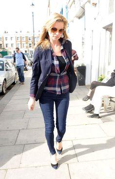 Kate Moss wearing Rails Dana shirt in Navy Plaid.