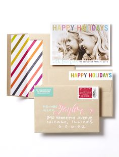 Create a holiday card with elegant designs and stunning accessories to make it uniquely yours. Consider a style that's merry & bright to give your card an extra pop of color.  | Tiny Prints
