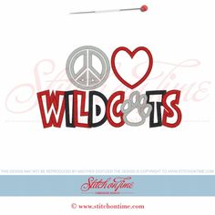 3040 Custom : Peace Love Wildcats Applique 5x7