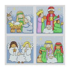 Nativity Christmas Cards Cross Stitch Pattern