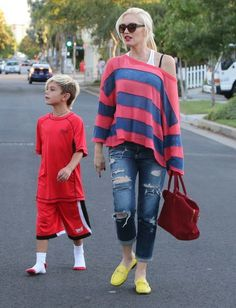 Pregnant singer Gwen Stefani and husband Gavin Rossdale take their kids to a party at a friends house in Hollywood, California