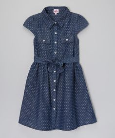 Look what I found on #zulily! Blue Polka Dot Denim Dress - Toddler & Girls by Dollhouse #zulilyfinds