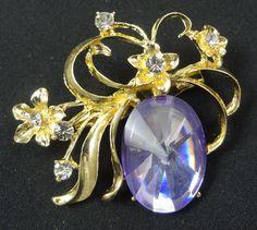 Flower Brooch - F0094 - Gold Tone Purple