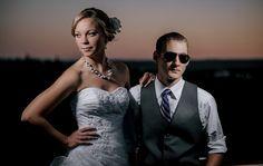 at Beacon Hill Matt Shumate Photography wedding portrait bride groom sunset flash fashion cool