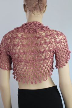 Crochet Bolero Shrug rosa polvo / Fall Fashion de primavera