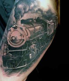 Tattoo Trends – 70 Train Tattoos For Men – Masculine Railroad Designs Top Tattoos, Body Art Tattoos, Sleeve Tattoos, Tatoos, Cool Tattoos For Guys, Unique Tattoos, Zug Tattoo, Train Tattoo, Horse Tattoo Design
