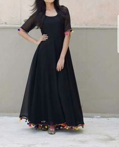 Online Shopping India - Buy Kurtis, Tops, Dresses, Shirts & Fashion For Women Black Lashkara AnarkaliGeorgette with Shantoon lining and pompom lace detailing CostSimplest is the best Indian Designer Outfits, Indian Outfits, Designer Dresses, Stylish Dresses, Casual Dresses, Fashion Dresses, Black Dress Outfits, Indian Gowns Dresses, Pakistani Dresses