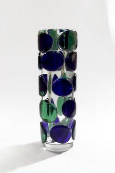 Skrdlovice Jaroslav Svoboda 7233 -- massive glass medallion vase -- Czech art glass -- damaged. zł250.00, via Etsy.