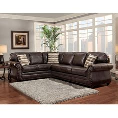 Decorate your living space with the fashionable Sofa Trendz Bindy faux-leather sectional sofa. The sofa features a dark saddle brown finish with color-coordinated accent pillows and stud details. Brown And Blue Living Room, Brown Couch Living Room, Living Room Grey, Living Room Color Schemes, Paint Colors For Living Room, Living Room Designs, Leather Living Room Furniture, Brown Furniture, Furniture Ideas