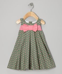 Two great colors on one great dress. Pink and green spots pop off a swing silhou… Two great colors on one great dress. Pink and green spots pop off a swing silhouette for a garden-fresh look and feel. Toddler Dress, Toddler Outfits, Baby Dress, Kids Outfits, Dot Dress, Infant Toddler, Chevron Dress, Little Dresses, Little Girl Dresses