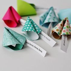 We predict good fortune fro Craft your own cool New Year's Eve party favors with this super easy DIY paper fortune cookie tutorial. New Year's Crafts, Holiday Crafts, Holiday Fun, Paper Crafts, Family Crafts, Paper Glue, Kids Crafts, Holiday Ideas, Christmas Ideas
