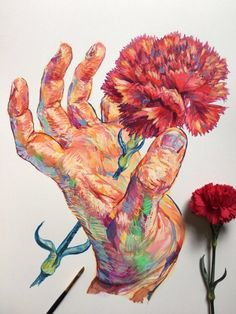 Hands and flowers - les illustrations poétiques de noel badges pugh (image) Illustrations, Illustration Art, Art Sketches, Art Drawings, Guache, Ap Art, Art Sketchbook, Art Inspo, Amazing Art