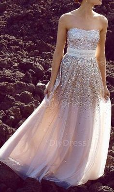 A-line Strapless Gold Sequins Lace Champagne Tulle Floor-lenth Prom Dresses,Beaded Evening Dresses on Etsy, $239.99 by Raelynn8