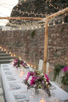 whimsical twinkle light and candle lit dinner reception