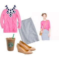 """""""J. Crew No. 2 Pencil Skirt in Deck Stripe, Navy Bubble Necklace, and Martina Patent Wedges"""" by jcrewismyfavstore on Polyvore"""
