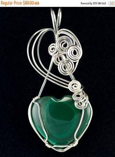ON SALE Malachite Heart Pendant in Sterling by DianaKirkpatrickArt