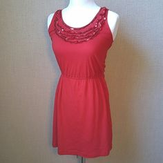 "Red casual dress with sequin detail Comfortable and sparkly! So adorable. Good condition. Cotton. 31"" length.  Note: there is a small section (photo 4) where the sequins became a bit detached. Not really noticeable I just want to disclose:) Forever 21 Dresses"