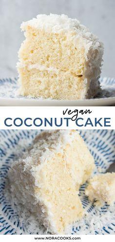 Vegan Treats, Vegan Foods, Vegan Dishes, Vegan Coconut Cake, Coconut Frosting, Coconut Deserts, Coconut Cakes, Recipe For Coconut Cake, Best Vegan Cake Recipe