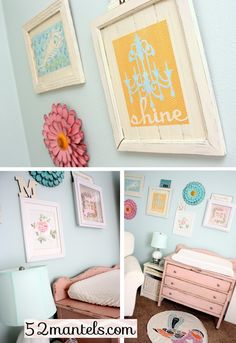 THIS is the kind of wall art I am thinking for her room.  With various quotes and pics in these colors!