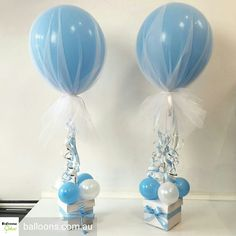 super ideas for baby boy shower decorations balloons center pieces Tulle Balloons, Mini Balloons, Baby Shower Balloons, Baby Boy Balloons, Shower Party, Baby Shower Parties, Baby Shower Gifts, Shower Games, Baby Shower Decorations For Boys