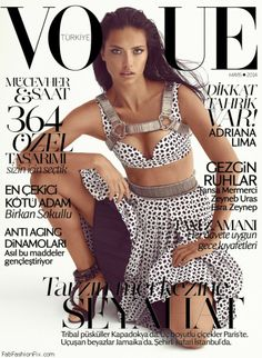 Adriana Lima graces the cover of Vogue Turkey May 2014