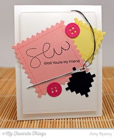 Stitched With Love stamp set and Die-namics, Pinking Edge Square STAX Die-namics - Amy Rysavy #mftstamps