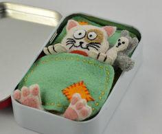 Felt Cat Plush Sleeping in an Altoid Tin by CreaturesInStitches