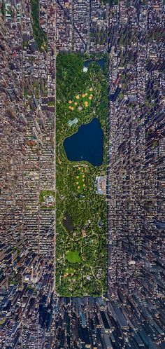 a wonderful aerial photo of central park, surrounded by the skyscrapers of new york city ...