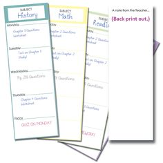 Free Homework bookmark printables. Help your kiddo get organized and stay on top of their subjects at the same time!