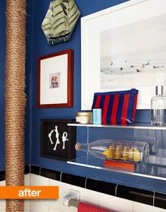 Nautical NYC bathroom, love how she used rope to hide the hot water pipe!!!