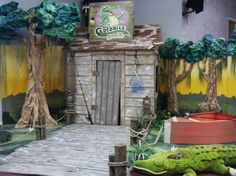 Crocodile Dock Vacation Bible School set all made of cardboard and brown bag paper except the stuffed crocodile.