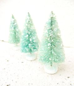 aqua glittered trees :)
