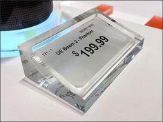 JBL Acrylic Table-Top Price Presentation – Fixtures Close Up Window Display Retail, Window Displays, Retail Store Design, Retail Stores, Price Signage, Store Displays, Retail Displays, Price Tag Design, Bakery Display