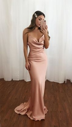 Pink Spaghetti Straps Mermaid Long Prom Dress Simple Evening Dress CR 1836 - 2020 New Prom Dresses Fashion - Fashion Of The Year Prom Dress Green, Prom Dress Two Piece, Wedding Dress Black, Pink Evening Dress, Pink Prom Dresses, Mermaid Prom Dresses, Women's Dresses, Long Satin Dress, Blush Prom Dress