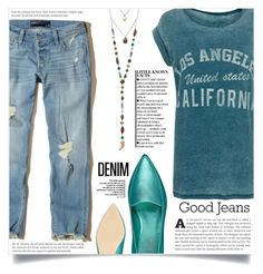 """""""Tear it Up: Distressed Denim"""" by dolly-valkyrie ❤ liked on Polyvore featuring Hollister Co., Nine West and distresseddenim"""