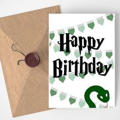Green and Silver Snake Birthday Card, Wizard Birthday Card, Magic Birthday Card, Geek Card, Wizard Birthday, Green and Silver https://www.etsy.com/listing/629984775/green-and-silver-snake-birthday-card?utm_source=crowdfire&utm_medium=api&utm_campaign=api