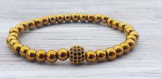 Golden Hematite Bracelet Zirconia Bracelet Mens Bead by ByOliveFR