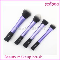 High Quality 4pcs blue Super soft Taklon hair cosmetic brush set for makeup beauty women