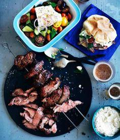Lamb yiros with yoghurt, tahini and garlic sauce and homemade pita bread - Gourmet Traveller