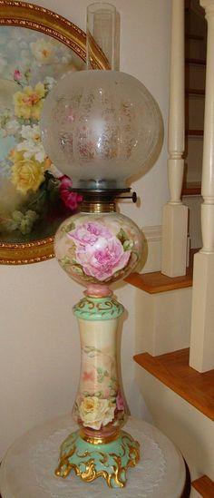 Antique Limoges France Ca 1894 Original Oil Lamp Parlor Lamp Banquet Lamp Spectacular Roses~Signed~Dated~ 1896`