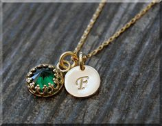 14k Gold Filled May Birthstone Necklace Emerald by thewrappedpixie