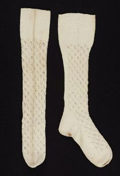 Pair of heavy white cotton knitted stockings        American, Early 19th century