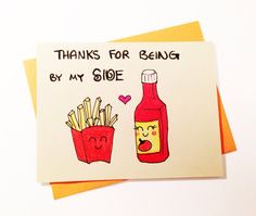 Funny thank you card thanks for being by my by LoveNCreativity