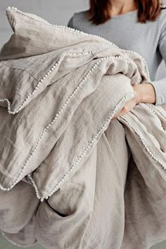 Refresh your bed with our linen duvet cover with decorative pom poms. Stone washed European linen covers for duvets and comforters. Grey Duvet, Linen Duvet, Diy Bed Linen, White Duvet Bedding, Luxury Bedding Sets, Luxury Linens, Cool Beds, Luxurious Bedrooms, Home Textile